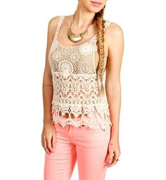 where to find crochet tank tops | Ivory Crochet Tank Top | My Style