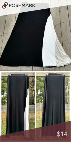 ➕Colorblock Maxi Skirt➕ Colorblock maxi skirt! Pre-loved, but still in really great condition! Size 2X, though I wore it comfortably at a 1X as well. Elastic waistband for comfort. The skirt is blocked out in black, white and tan on the front while being all black on the back. Really great addition to being a pop of neutrals to an otherwise monochromatic outfit! Awesome skirt! Skirts Maxi