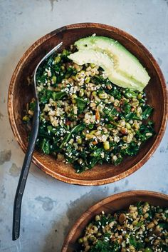 Healthy Brown Rice Salad w/ Kale + Sesame Seeds | Vegan, dairy free, gluten free,, and vegetarian. | Click for healthy recipe. | Via Well and Full