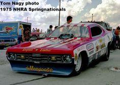 Tom McEwan's Mongoose funny car, 1975 Springnationals