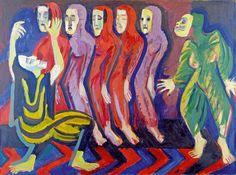 Ernst Ludwig Kirchner, Totentanz der Mary Wigman [Danse macabre de Mary Wigman],  1926-1928  Huile sur toile - 110 x 149 cm  Photo Galerie Henze & Ketterer, Wichtrach / Berne  © Domaine public