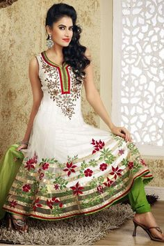 $179.6 White Thread and Stone Work Net Long Anarkali Salwar Suit 24520