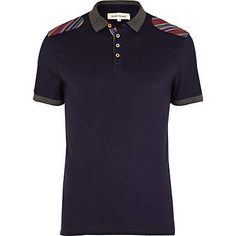 navy mexican print shoulder patch polo shirt - polo shirts - t-shirts / vests - men - River Island