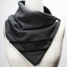 Sumie Tachibana Unisex Grey  Scarflette with Black Asymmetrical Trim