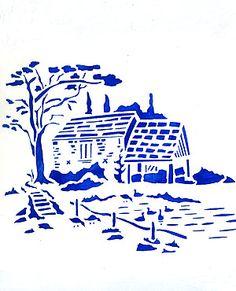 Toile Duck Pond Stencil. Toile de Jouy Stencils
