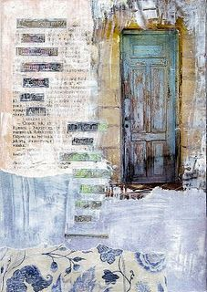 Great idea for painting old Moroccan doors, but in a compositionally, texturally interesting way!
