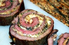 Flank Steak Roulade My peoples, I want to introduce you to my very dear friend. He never fails to impress and everyone wants a piece of him. His style is minimalist yet refined. He smells great and tastes even better,… Beef Roulade, Roulade Recipe, Grilling Recipes, Meat Recipes, Cooking Recipes, Water Recipes, Seared Salmon Recipes, Flank Steak Recipes, Gourmet