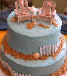 Beach themed wedding cake. Booked them for my wedding. So excited!