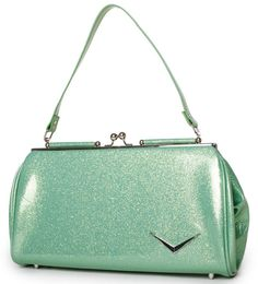 Lux de Ville Mini Getaway Kiss Lock Baby Green Sparkle