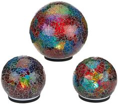 Set of 3 Indoor/Outdoor Illuminated Mosaic Spheres by Valerie