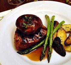 Fine dining in the Pacific Northwest - Portobello mushroom, steak filet, asparagus, fingerling potatoes