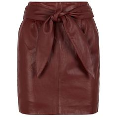 Reiss Leonie Leather Belted Skirt ($315) ❤ liked on Polyvore featuring skirts, red leather skirt, reiss, burgundy leather skirt, high waisted leather skirt and leather tie belt
