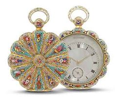 SWISS  GOLD AND ENAMEL OPENFACE KEYWOUND POCKET WATCH, MADE FOR THE TURKISH MARKET, NO. 47908, CIRCA 1840 Gilt-finished lever movement, gold cuvette, silvered engine-turned dial with eccentric time display with Roman numerals, sub seconds, gold case in the shape of a flower, back cover and bezel with flower motifs painted on enamel, case numbered Diameter: 42 mm.