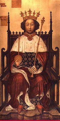 Richard II, the son of Edward III's eldest son, Edward, Prince of Wales, the Black Prince and his wife, Joan, Countess of Kent. The Black Prince predeceased Edward III, dying of a mysterious illness in June, 1376. He had obtained a promise from his father that Richard should succeed him. After his grandfather's death, the ten year old Richard was duly crowned at Westminster Abbey on 16 July, 1377.