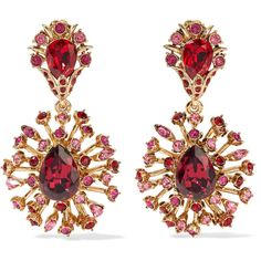 Oscar de la Renta Gold-plated Swarovski crystal clip earrings ($550) ❤ liked on Polyvore featuring jewelry, earrings, accessories, brinco, red, deco earrings, oscar de la renta jewelry, red earrings, oscar de la renta earrings and druzy jewelry
