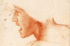 """Leonardo Da Vinci (1452-1519) Studie van hoofd van een soldaat voor de Slag bij Anghiari. Collectie Szépművészeti Múzeum (""""Museum voor Schone Kunsten""""), Boedapest"""