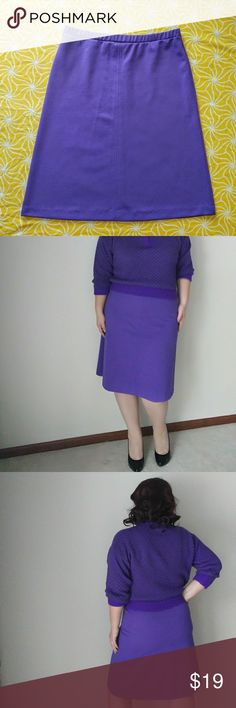 """60's A-Line Purple Skirt - Size 14 60's A-Line Purple Skirt - Size 14  Perfect condition. No holes or stains. It even has loops at the waist big enough for a 1 in. Belt. 100% Polyester and the Brand is """"Devon""""  W- 35 H-43 L- 26 1/2  #60s #1960s #polyester #purple #purpleskirt #aline #alineskirt #size12 #size14 #large #sizeL Vintage Skirts A-Line or Full"""