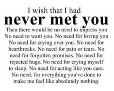 Really wish I didn't meet you... I wouldn't have a broken heart