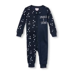 Baby And Toddler Girls Long Sleeve 'Sparkle And Shine' Star Split Print Stretchie