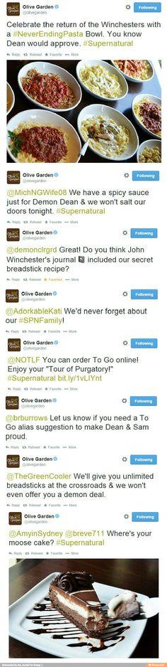 Olive Garden is officially my favorite restaurant now. #SPN #Supernatural
