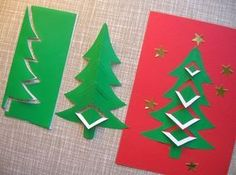 Paper cut out Christmas Trees Diy Christmas Cards, Noel Christmas, Christmas Crafts For Kids, Xmas Crafts, Winter Christmas, Handmade Christmas, Holiday Cards, Christmas Decorations, Christmas Ornaments
