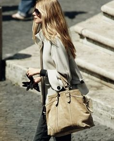 Chic outfit with a large suede handbag