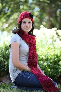 Red Scarf and Hat combination by WritingPlaces on Etsy, $20.00
