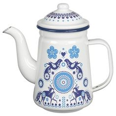 This Folklore Blue Enamel Tea Pot evokes an enchanting world of half remembered love songs, folktales and memories – retold through decorative motifs, charming creatures & silhouette detail.