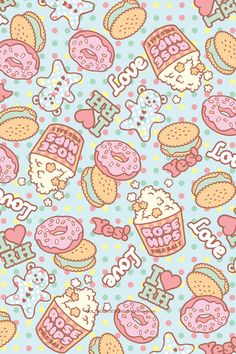 Food Pattern Wallpaper Tumblr | found these backgrounds here http www sparklelust net kawaii png ...