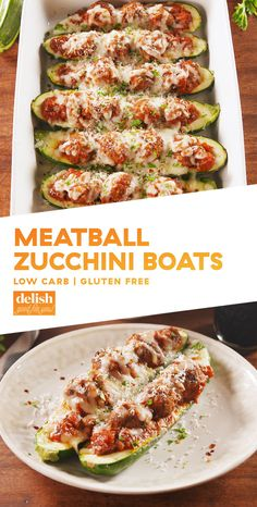 Zucchini Boats I'd use meatless meatballs.Meatball Zucchini Boats = Low-Carb Dinner GoalsDelishI'd use meatless meatballs. Zucchini Boat Recipes, Veggie Recipes, Beef Recipes, Low Carb Recipes, Cooking Recipes, Healthy Recipes, Cooking Zucchini, Recipies, Desserts