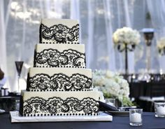 4 tier black and white wedding cake