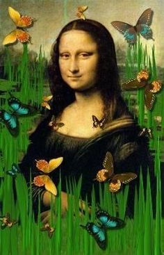 Mona Lisa with butterflies