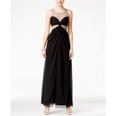 City Studios Juniors' Jeweled Illusion Gown ($30) ❤ liked on Polyvore featuring dresses, gowns, black, prom evening gowns, cocktail prom dress, prom gowns, cocktail dresses and embellished cocktail dress