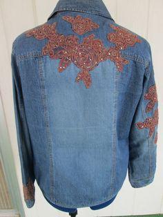 Chico's Denim Embellished Jacket Size 2 Medium by BADTIQUE on Etsy, $33.85