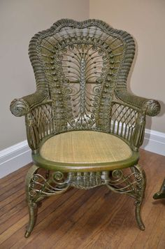 Antiques and Collectibles - Victorian Furniture - Wicker ChairYou can find Wicker and more on our website.Antiques and Collectibles - Victorian Furniture - Wicker Chair White Wicker Patio Furniture, Wicker Chairs, Rattan Furniture, Furniture Decor, Tropical Furniture, Cane Furniture, Chair Cushions, Victorian Chair, Victorian Furniture