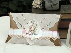 Pillow Box wrapped with a vintage hankie