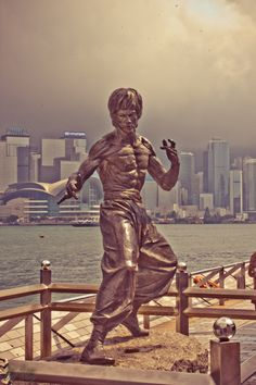 Memorial statue for Hong Kong-American action film actor, martial arts instructor, filmmaker, and Jeet Kune Do founder Bruce Lee, Hong Kong, 2012, photograph by Bal Kang.