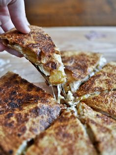 Um, wow! What a great idea! Caramelized Pineapple Quesadillas. With Spicy Strawberry Salsa!