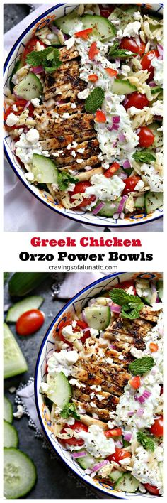 Greek Chicken Orzo Power Bowls are perfect for lunch or dinner. They are super easy to make and packed with delicious ingredients. These bowls are ideal for meal prep and are freezer friendly! #lunch #dinner #health #powerbowls @CravingsLunatic