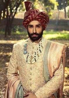 Latest Wedding Sherwani Designs By Amir Adnan - PK Vogue Indian Wedding Suits Men, Sherwani For Men Wedding, Wedding Outfits For Groom, Groom Wedding Dress, Mens Sherwani, Sherwani Groom, Indian Groom Wear, Pakistani Wedding Outfits, Groom Dress