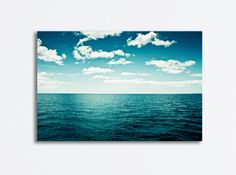 "Ocean Canvas Wrap, seascape photography dark blue canvas print teal white beach coastal wall art landscape photograph ""The Spell of the Sea""..."