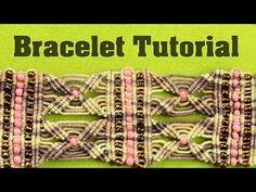 Yarn Cuff Bracelet with Beads | Tutorial by Macrame School - YouTube