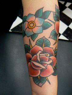 Fresh Old School tattoo roses  flowers by Robert Aalbers @Sheri | Pork Cracklins Leonard Solid Oct 18 2011
