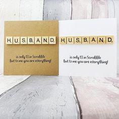 Husband Anniversary card Husband Birthday card Scrabble card   Etsy Baby Girl Cards, New Baby Cards, Scrabble Cards, Scrabble Tiles, Anniversary Cards For Husband, Romantic Cards, Husband Birthday, Congratulations Card, Custom Cards