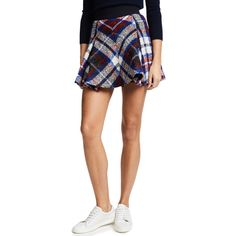 Hilfiger Collection Tartan Box Pleated Skirt ($520) ❤ liked on Polyvore featuring skirts, white plaid skirt, flared skirt, white skirt, white circle skirt and box-pleat skirt