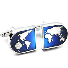 Jstyle Jewelry Men's World Map Shirts Cufflinks, Wedding, Color Blue Silver, 1 Pair Set - http://jewelryfromusa.com/jstyle-jewelry-mens-world-map-shirts-cufflinks-wedding-color-blue-silver-1-pair-set/