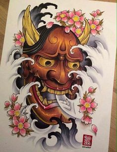 tattoos in japanese prints Japanese Hannya Mask, Japanese Demon Tattoo, Small Japanese Tattoo, Japanese Drawings, Japanese Tattoo Designs, Japanese Sleeve Tattoos, Japanese Art, Japanese Prints, Hannya Mask Tattoo