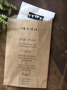 Wedding Menu Bags, Bread Bag, Wedding Favor Bag, Elegant and Custom Printed for You, Set of 25 by DetailsonDemand on Etsy