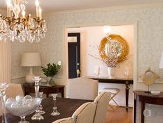 dark-stained table + chairs with nailhead trim
