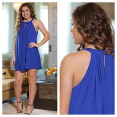 Colbalt Blue Halter Dress!! Beautiful Dress!! Beautiful Color!! Great for a Summer trip, event, dinner date, beach or cruise.  Find this dress and more in my Boutique on Poshmark!!
